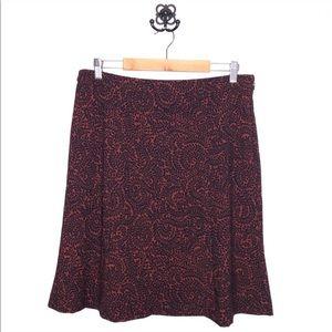 LOFT Skirts - •new• LOFT Red & Navy Patterned Flippy Midi Skirt